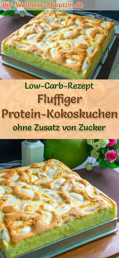Fluffiger Low Carb Protein-Kokoskuchen - einfaches Rezept ohne Zucker