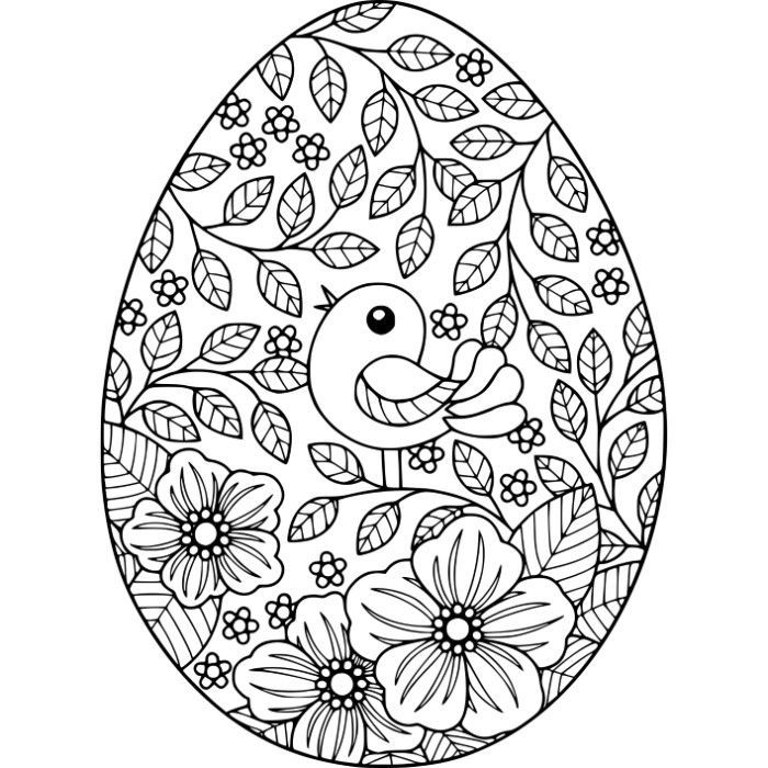 Nice Free Instant Download Bird And Flowers Easter Egg Coloring Pages #coloring  #coloringbook #coloringpages