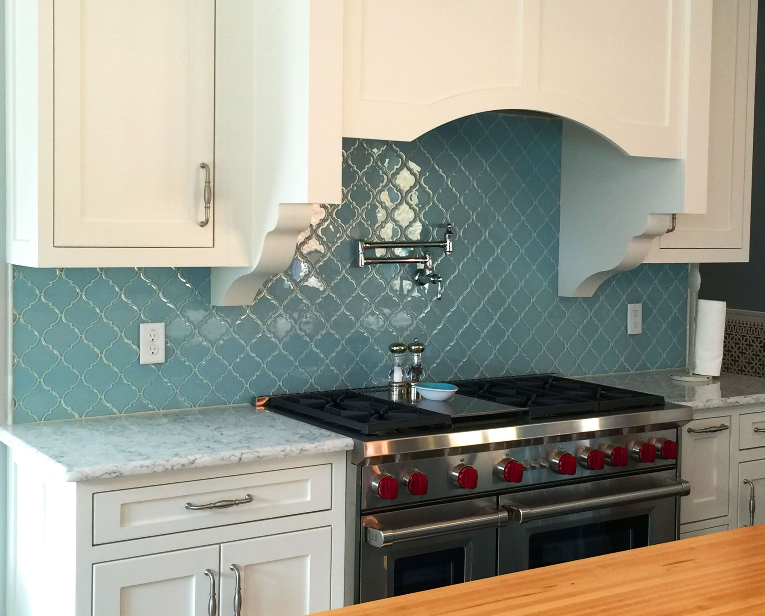 Vapor Arabesque Glass Tile BacksplashGlass Kitchen