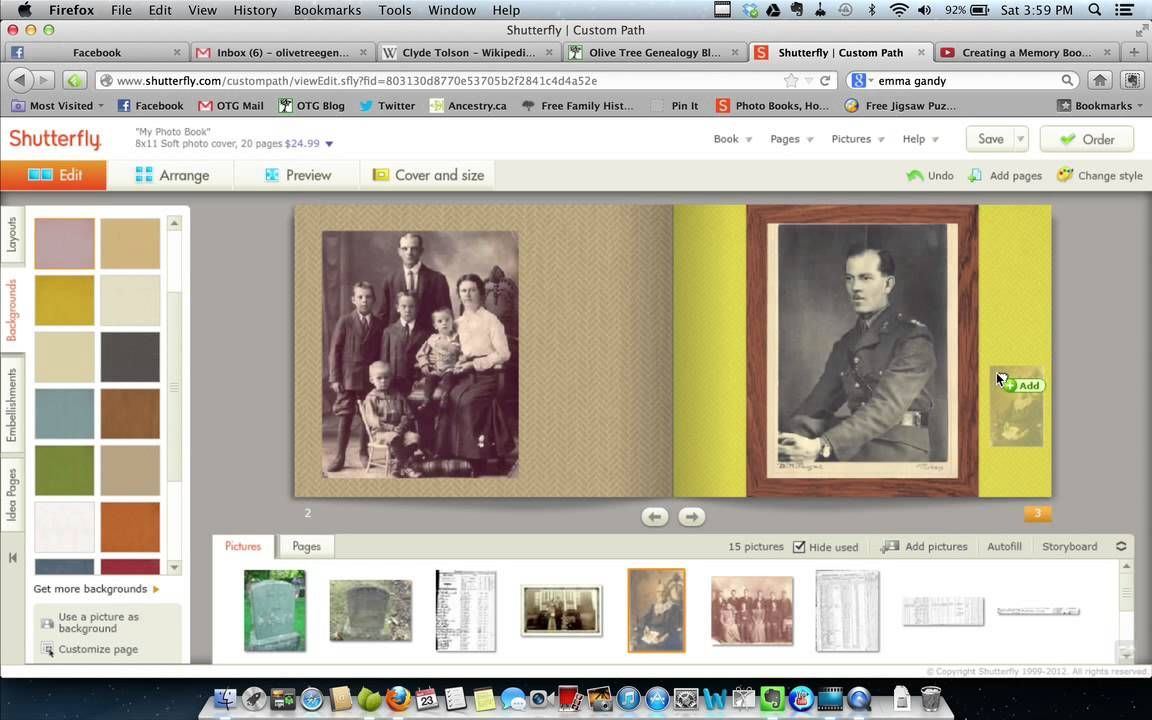 Creating a Memory Book in Shutterfly (Tutorial 2), via YouTube.