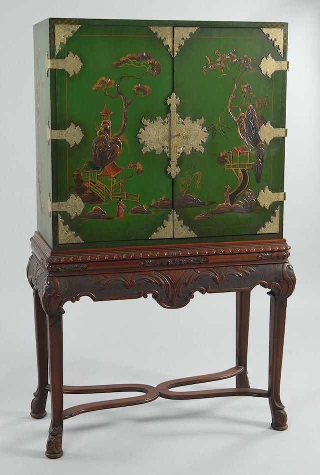A Chinoiserie Decorated Lacquered Wood Cabinet On Carved Mahogany Stand By Butler Company Ca