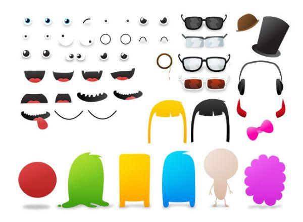 Boca, ojos, cabello, auriculares de monstruo de ojo gafas palabra ...