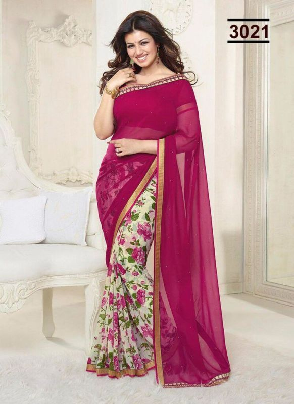 Women/'s Soft Georgette Floral Print Saree With Blouse Piece/_Majenta