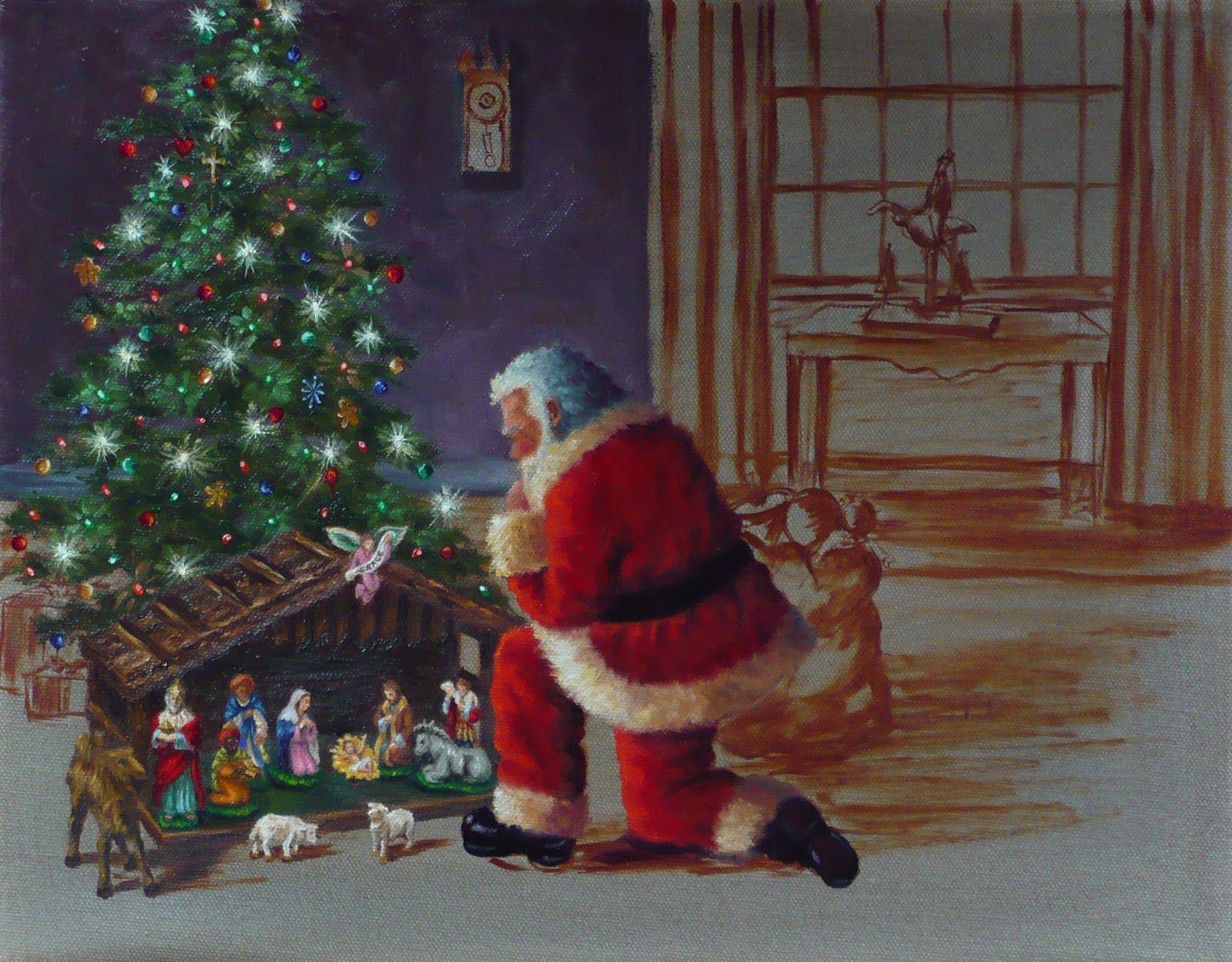 Santa Christmas Tree Santa Claus Nativity Painting Decorating The Christmas Tree Nativity Painting Christmas Scenes Santa Art