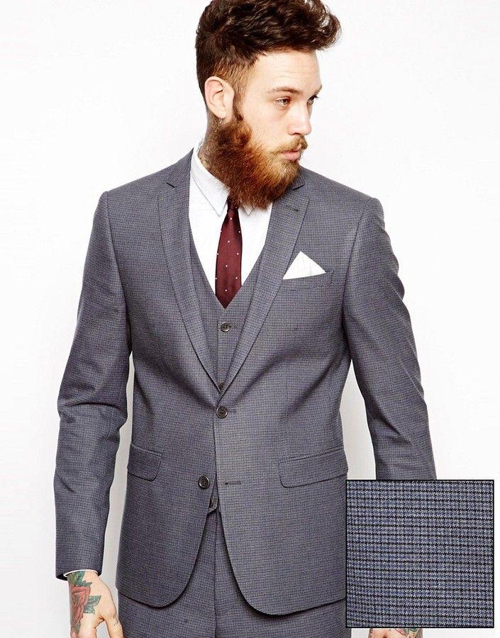 Asos Slim Fit Suit Jacket In Mini Houndstooth  5fec355a2