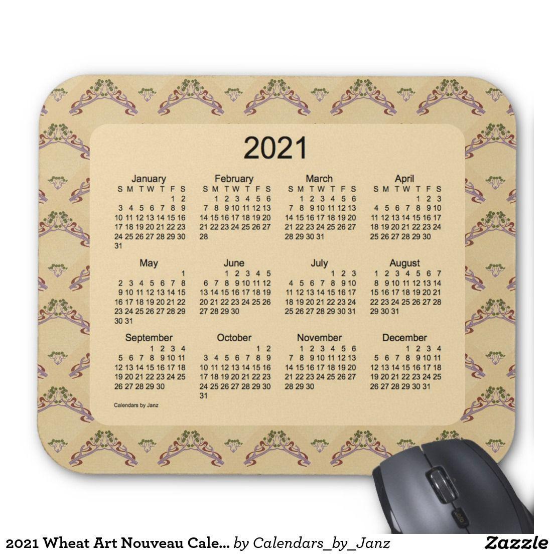 2021 Wheat Art Nouveau Calendar by Janz Mouse Pad