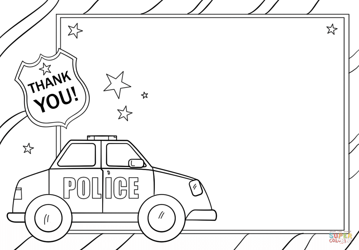 Thank You Police Coloring Page Free Printable Coloring Pages Thank You Cards From Kids Police Officer Crafts Fun Activities For Preschoolers