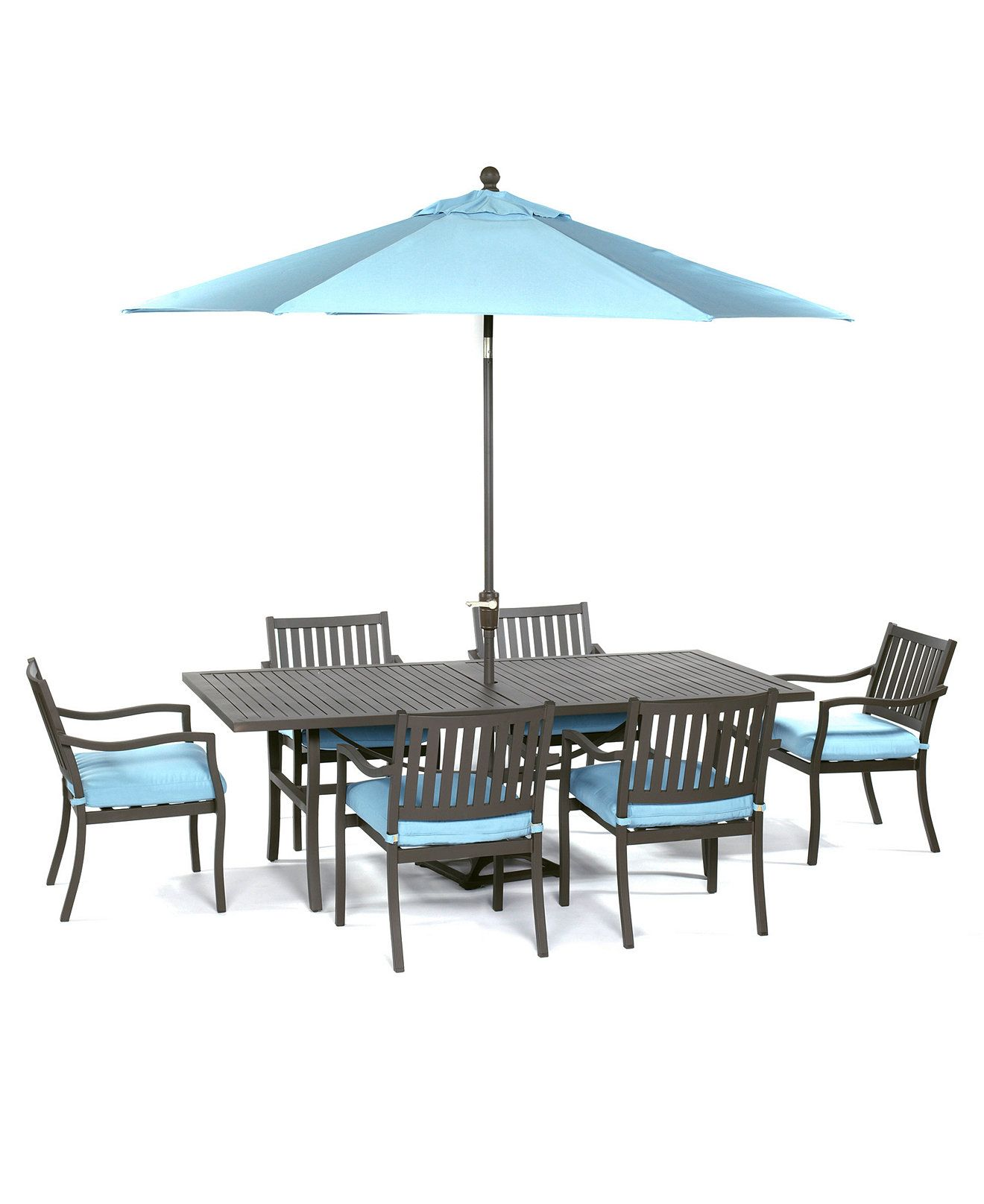 "Holden Outdoor Patio Furniture 7 Piece Set 84"" x 42"" Dining"