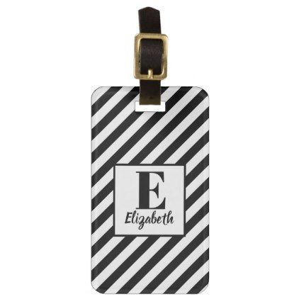 Modern Black  White Diagonal Stripes  Name Luggage Tag  Script