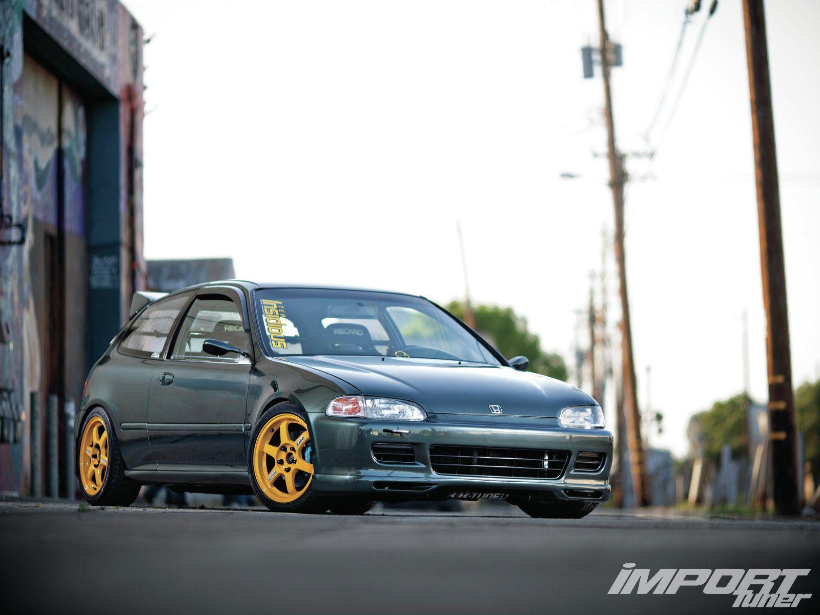 1994 Honda Civic With Gold Wheels Honda Civic Honda Civic Hatchback Civic Eg
