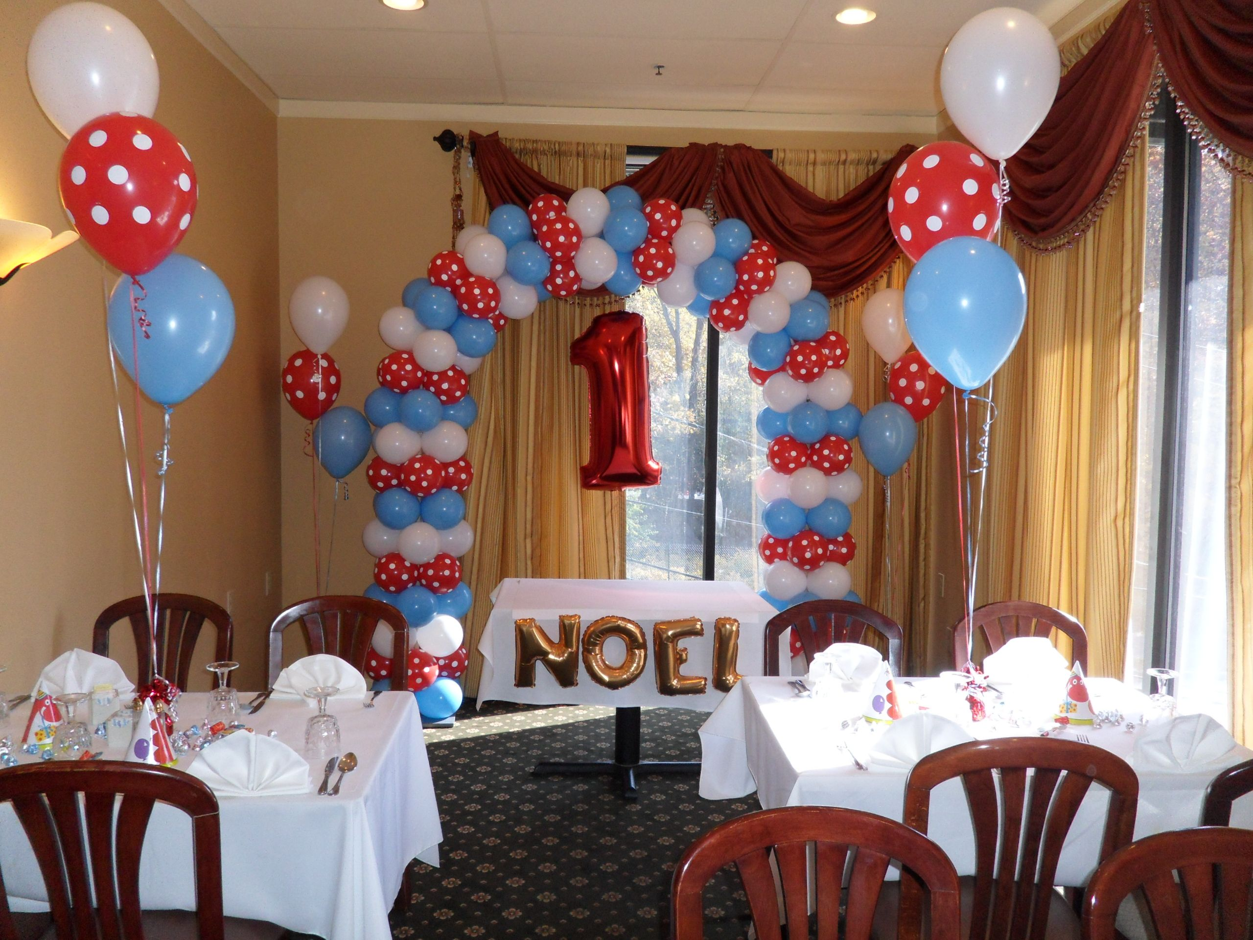 Pale Blue Red Polka Dot And White Balloon Arch For First