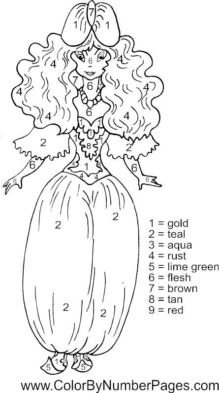 princess color by number page Fun Kid Printables