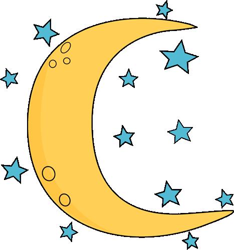 crescent moon and stars clip art