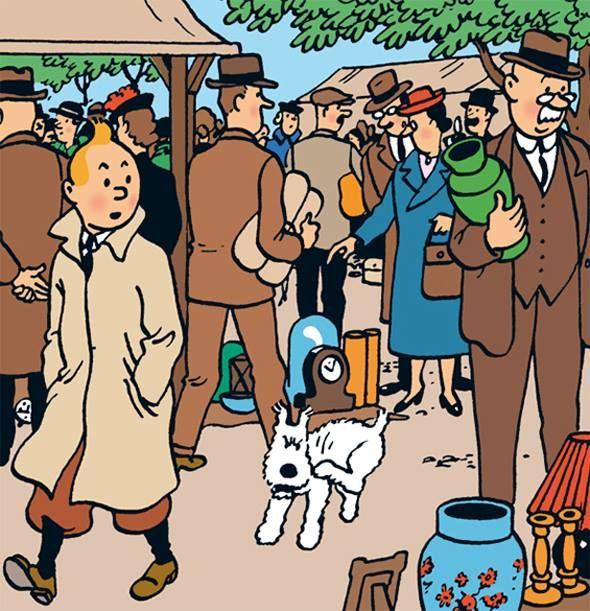 Le marché aux puces / the flea market | Tintin, Cartoon illustration, Cartoon