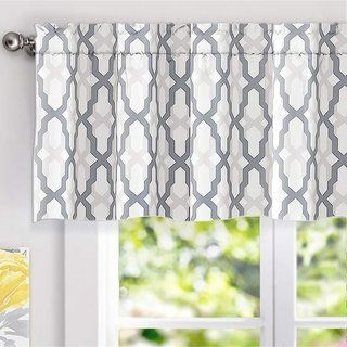 Driftaway Mason Geometric Trellis Pattern Window Curtain Valance Grey Gray 100 Polyester Valance Curtains Valance Curtains