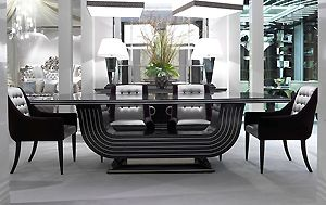 CLASSIC CHIC   DINING TABLE HIGH GLOSS U0026 SILVER INLAID DETAILING 2025TA