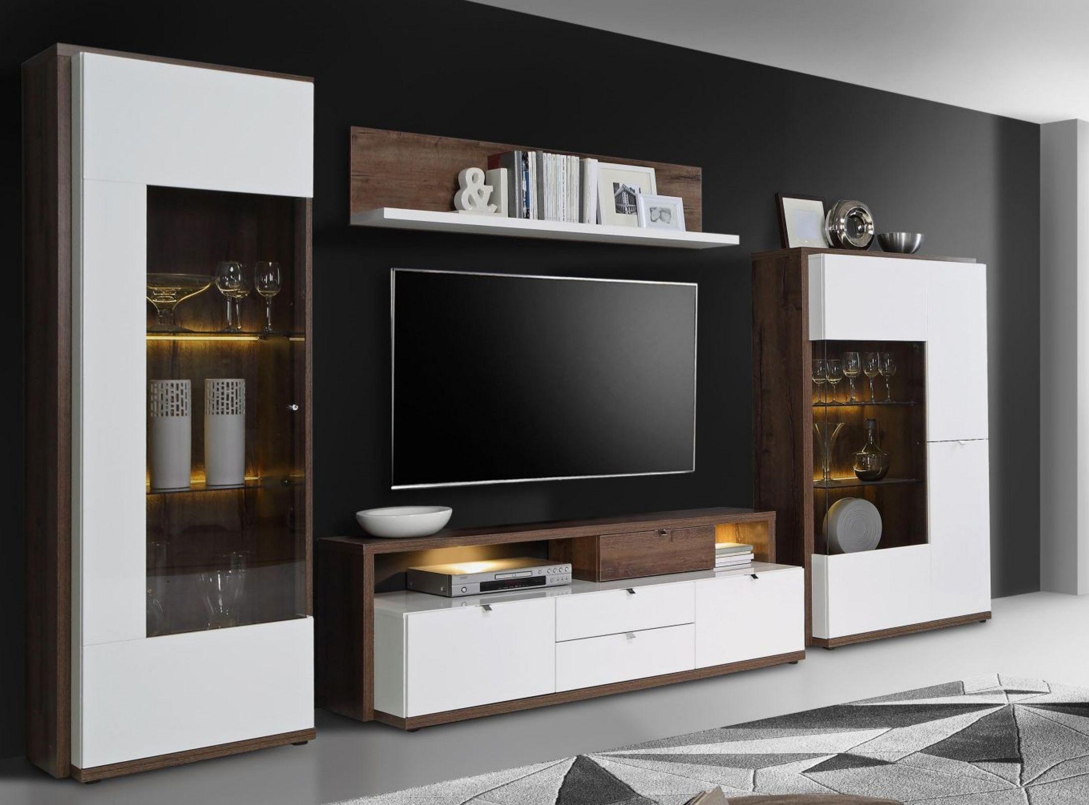 Wohnwand Weiss Hochglanz Und Schlammeiche Woody 77 00772 Holz Modern Jetzt  Bestellen Unter: Https