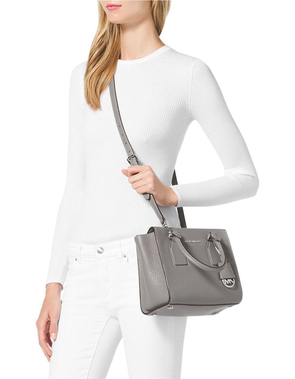 66b8e0da1789 Michael michael kors Selby Medium Leather Messenger Bag in White (Pearl  Grey)