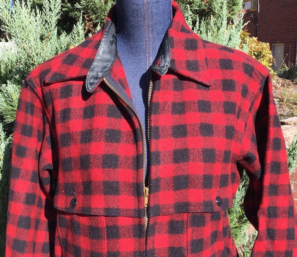 6b7ed7fc421 Vintage Johnson Woolen Mills Wool Buffalo Plaid Mens Hunting Jacket Coat 42   JohnsonWoolenMills  CoatJacket