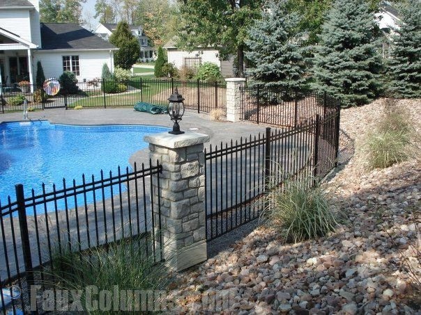 Good Columns Make Good Fences Inground Pool Landscaping Fence Around Pool Backyard Pool Landscaping