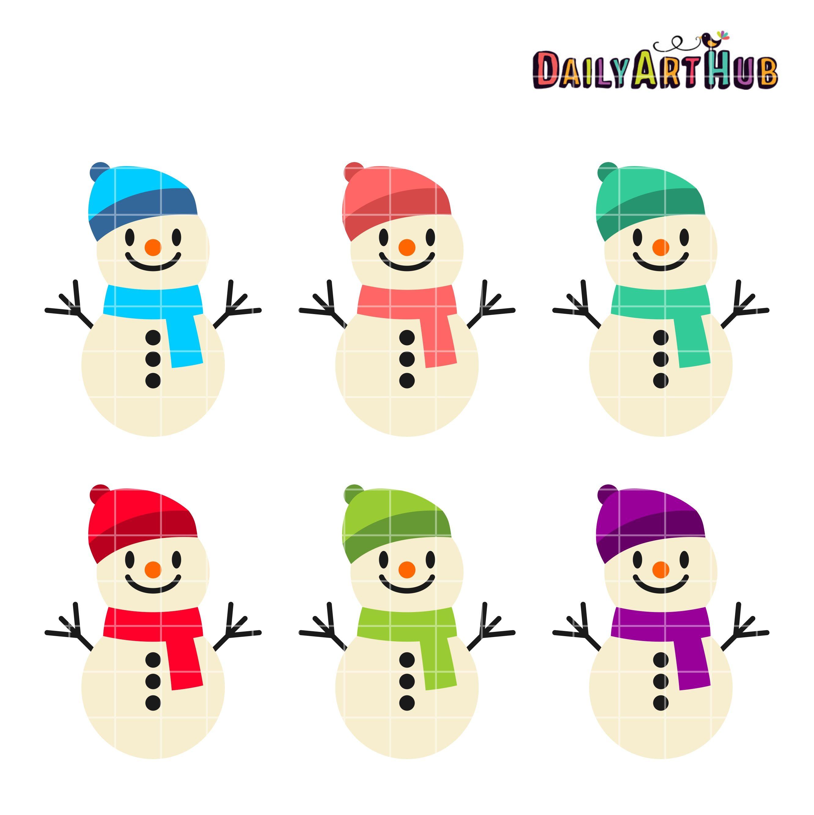 free funny cute snowmen clip art set daily free art sets rh pinterest ie  cute snowman face clipart