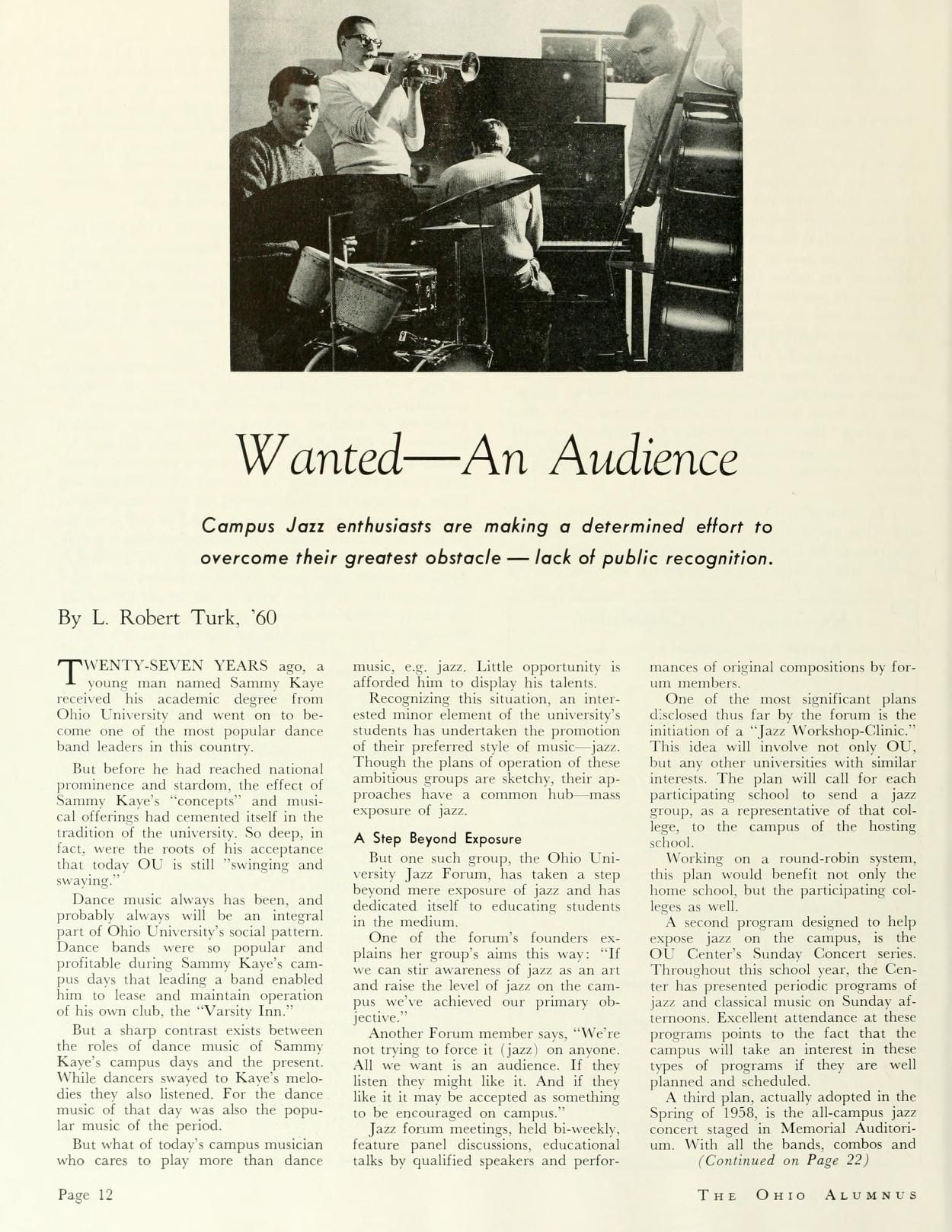 "The Ohio Alumnus, April 1959. ""Wanted--An Audience."" ""Campus Jazz enthusiasts are making a determined effort to overcome their greatest obstacle--lack of public recognition."" :: Ohio University Archives"