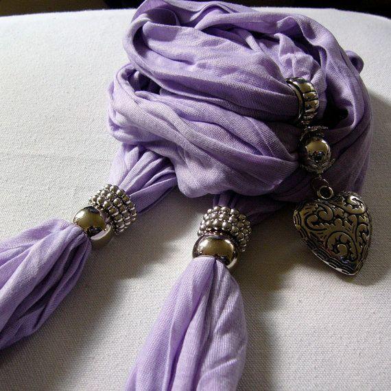 Heart Shaped Pendant Jersey Scarf Purple by DesignByHeart on Etsy