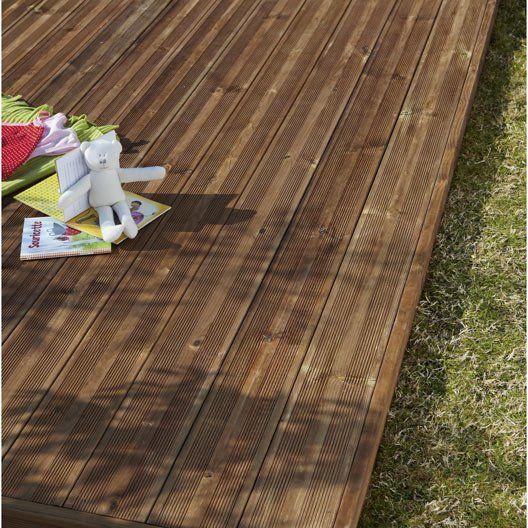 Planche bois pin Kuhmo, marron, L208 x l145 cm x Ep27 mm - terrasse pave et bois