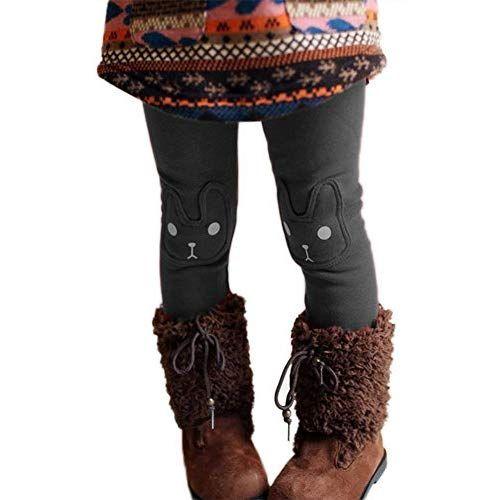 6ee7fb044ab6 MNLYBABY Kids Girl Winter Warm Rabbit Printed Leggings Fleece Pants Grey  2T/3T