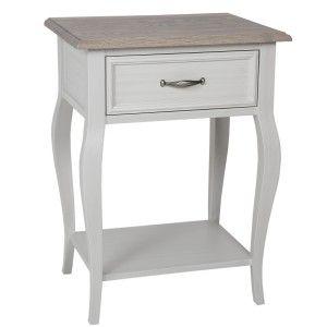 Bastille Solid White 1 Drawer Bedside Table Cabriolet Leg