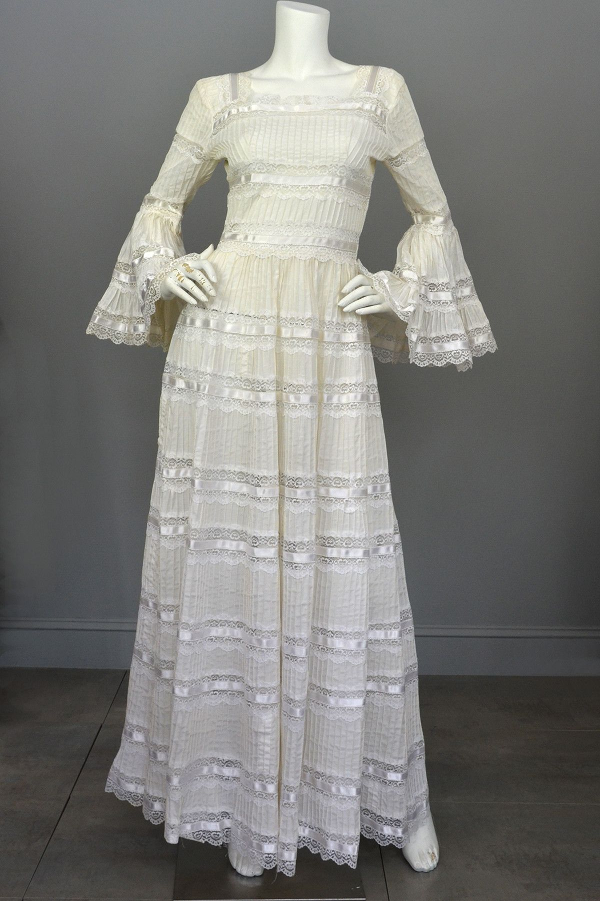 Best s Vintage Mexican Wedding Dress with Bell Sleeves and Lace from VintageVirtuosa