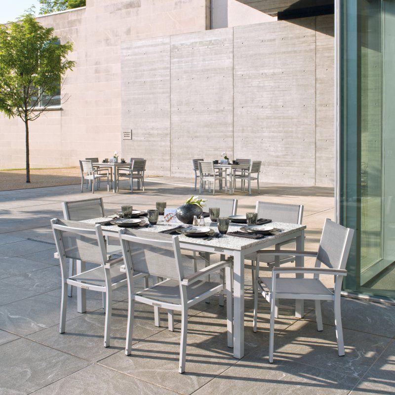Oxford Garden Travira Aluminum 7 Piece Ash Granite Rectangular Patio