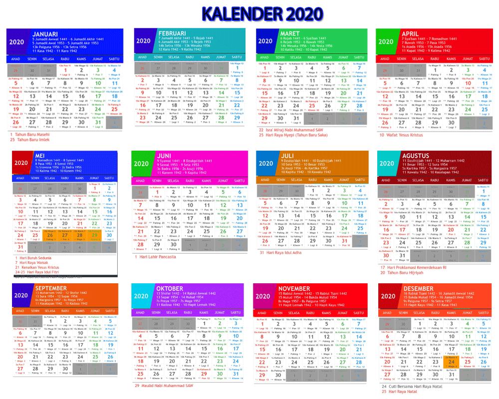 Kalender 2020 Paling Lengkap Karena Selain Terdapat Tanggal Kalender Indonesia Masehi Yang Dilengkapi Dengan Hari Libur Nasiona Kalender Indonesia Hari Libur