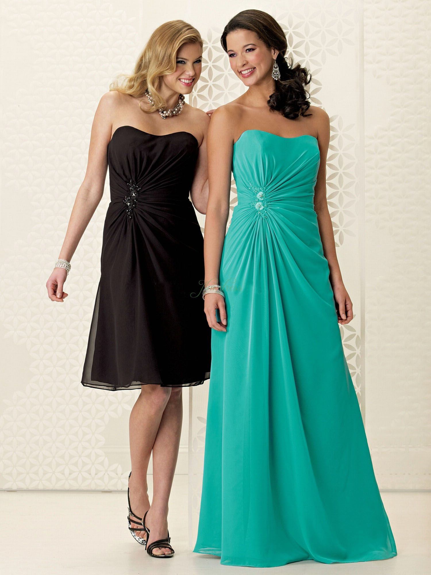 Affordable Strapless Chiffon Ruched Floor Length Zipper Up A-line ...