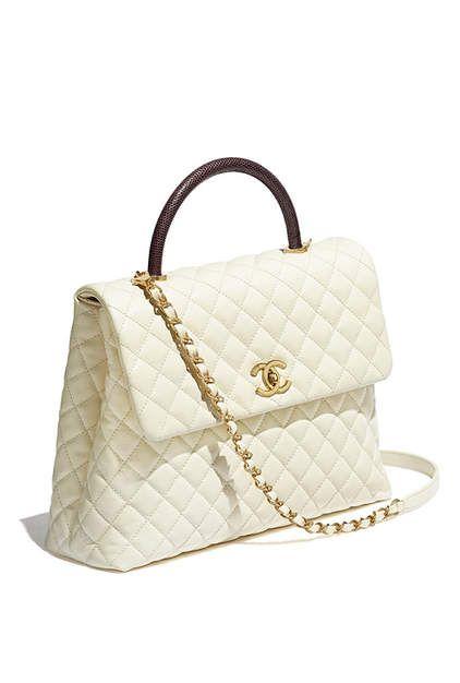 9ec92145df4b Flap bag with top handle, calfskin, lizard & gold-tone metal-ivory &  burgundy - CHANEL