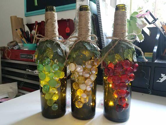 Decoración de botellas uva uva vino decorativas botellas de ...
