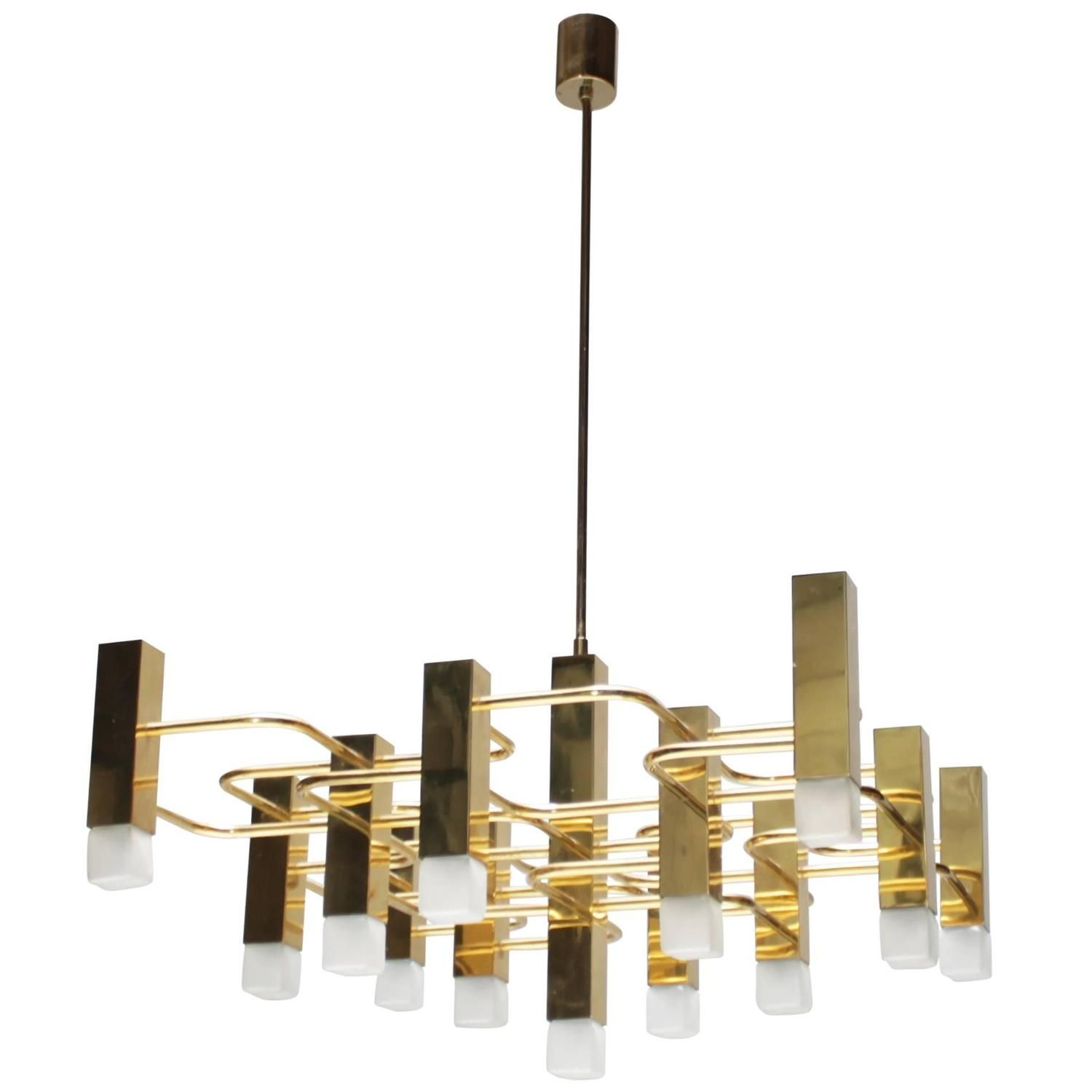 Large Brass Chandelier By Sciolari For Boulanger From A Unique Collection Of Antique And Modern Chandeliers Pendants At