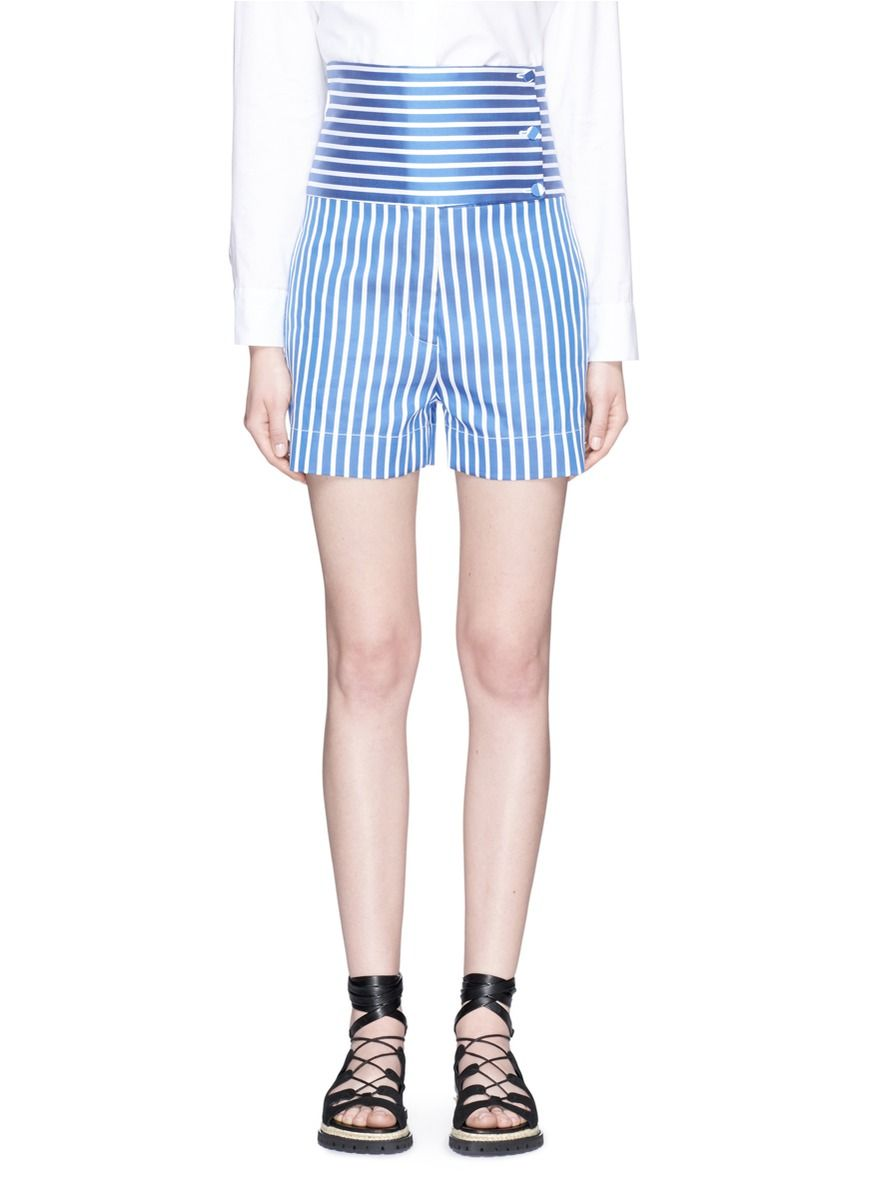 PORTS 1961 High waist button panel stripe shorts. #ports1961 ...