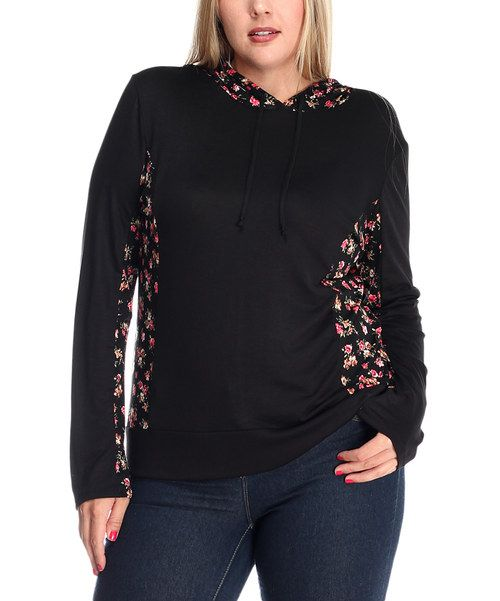 Look at this Black & Pink Floral Hoodie - Plus on #zulily today!
