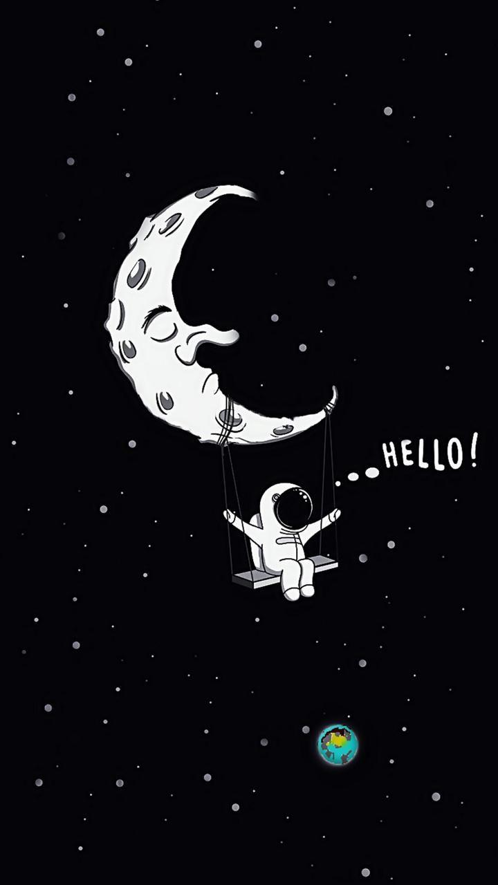 Astronaut Moon Art Wallpaper Papel De Parede Para Telefone