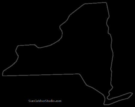 New York Map Outline Printable State Shape Stencil Pattern Map Of New York Map Outline Pattern