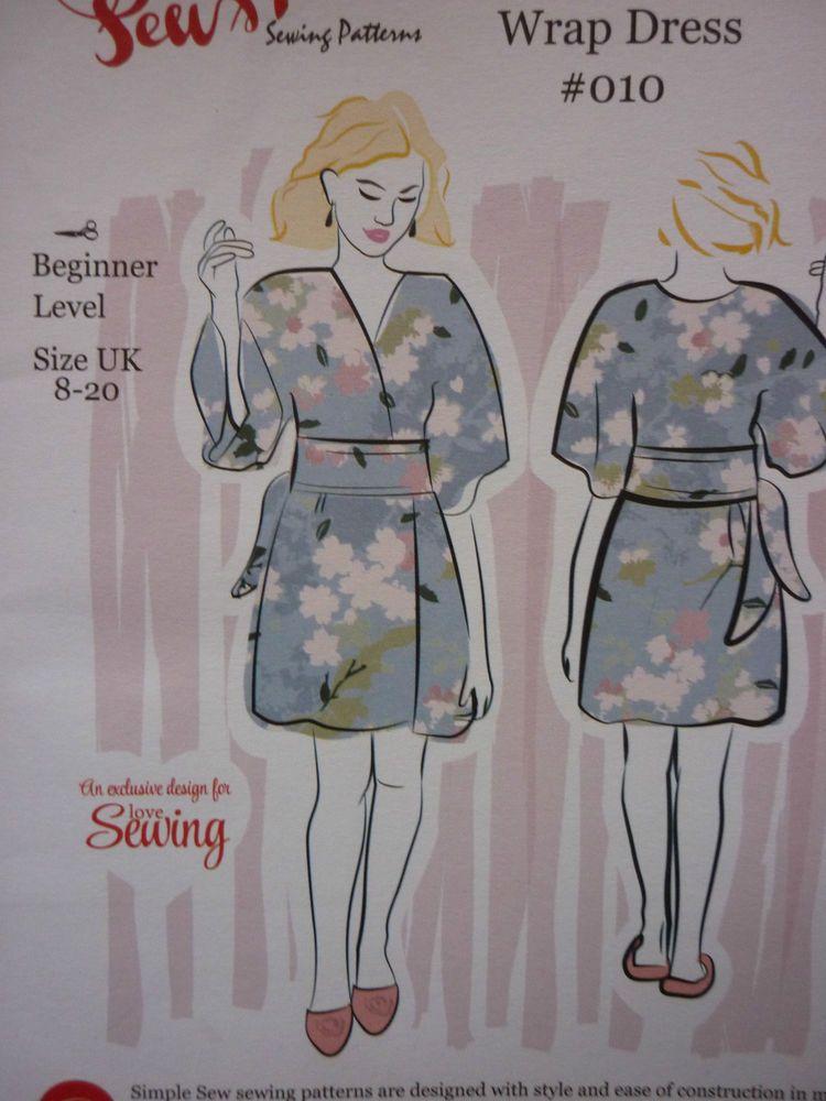 NEW SIMPLE SEW KIMONO WRAP DRESS SEWING DRESSMAKING PATTERN SIZES 8 ...