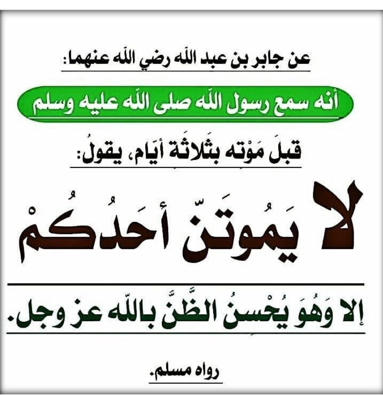 السؤال قال رسول الله ﷺ فلا يموتن أحدكم إلا وهو يحسن الظن بالله ما معنى هذا الحديث الجواب Islam Facts Quotations Peace Be Upon Him