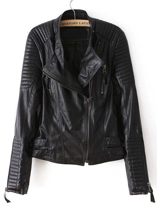 Black Long Sleeve Zipper PU Leather Jacket - Sheinside.com one fake leather jacket i would consider...