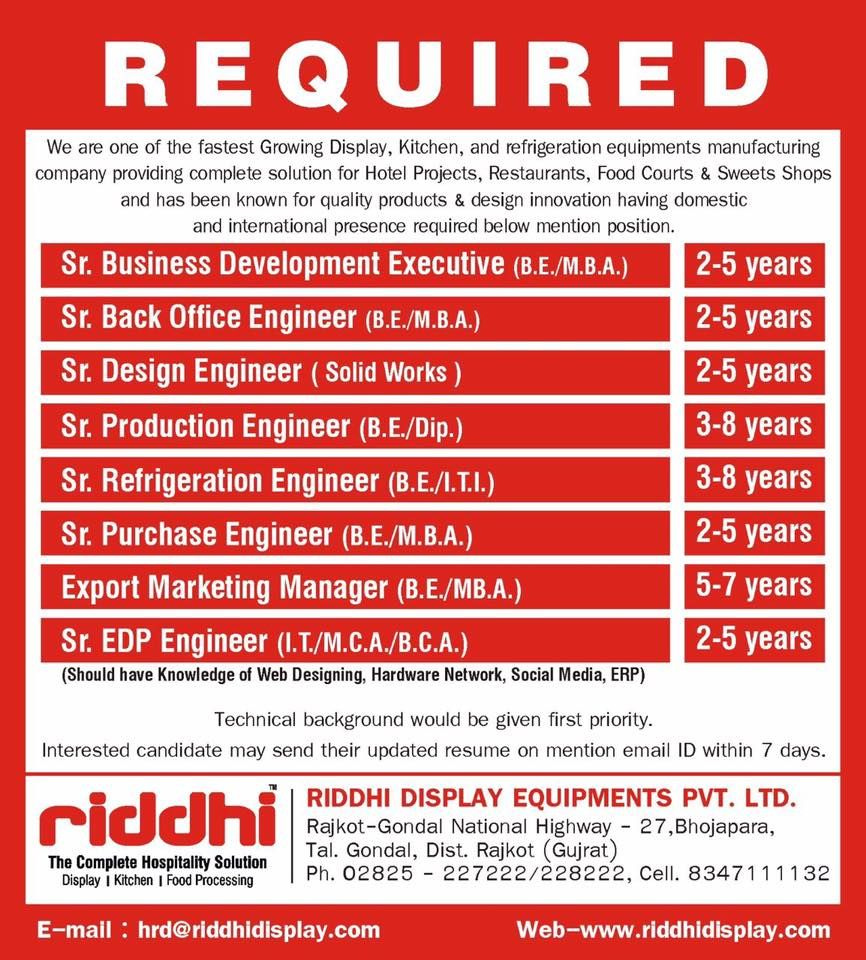 Riddhi Display Equipment Pvt Ltd looking for bright and experienced