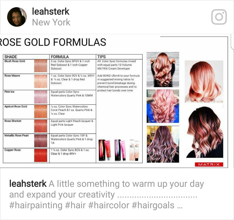 Taking Rose Gold Formulas To The Limit Matrix Hair Color Rose Gold Hair Color Formulas Matrix Hair Color