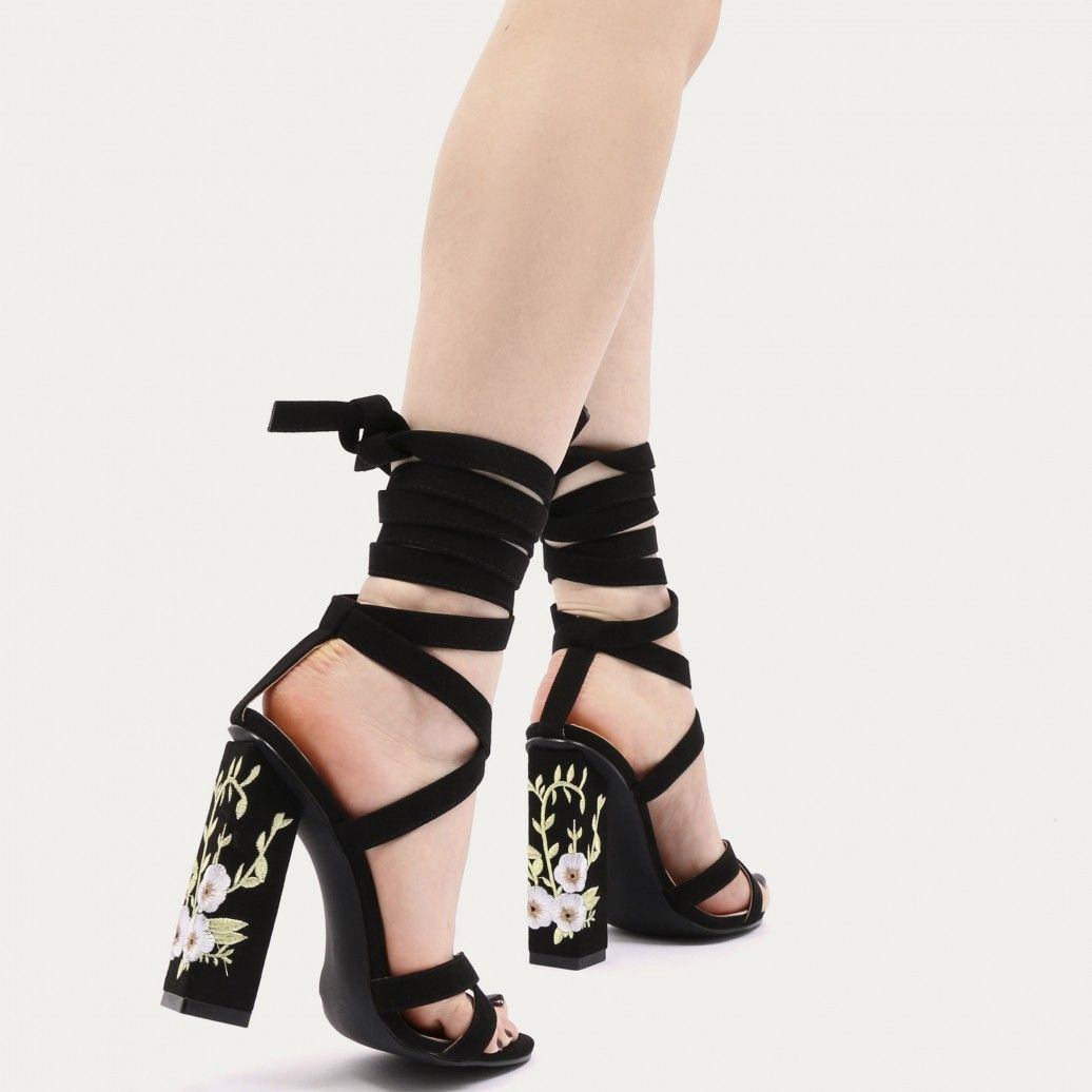 Wilderness embroidered lace up heels in black faux suede wilderness embroidered lace up heels in black faux suede ccuart Image collections