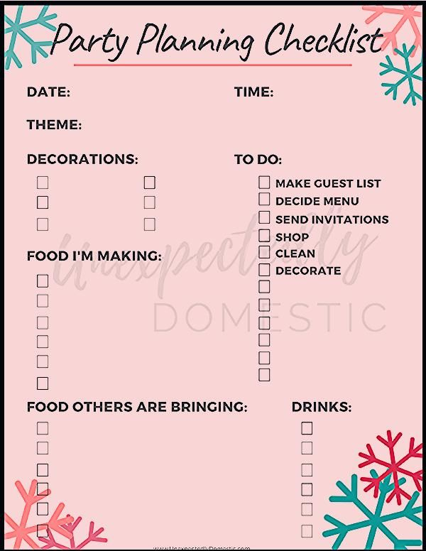 Printable Party Planning Checklist Template