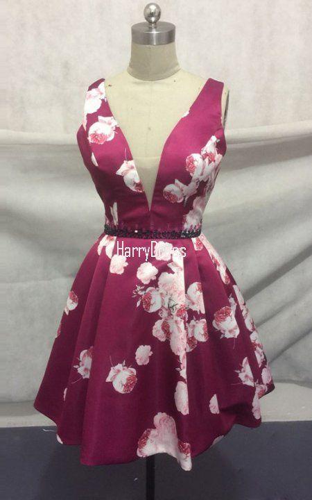 32321 Plum Floral Print Taffeta Beaded A Line V Neck Short Homecoming Dress