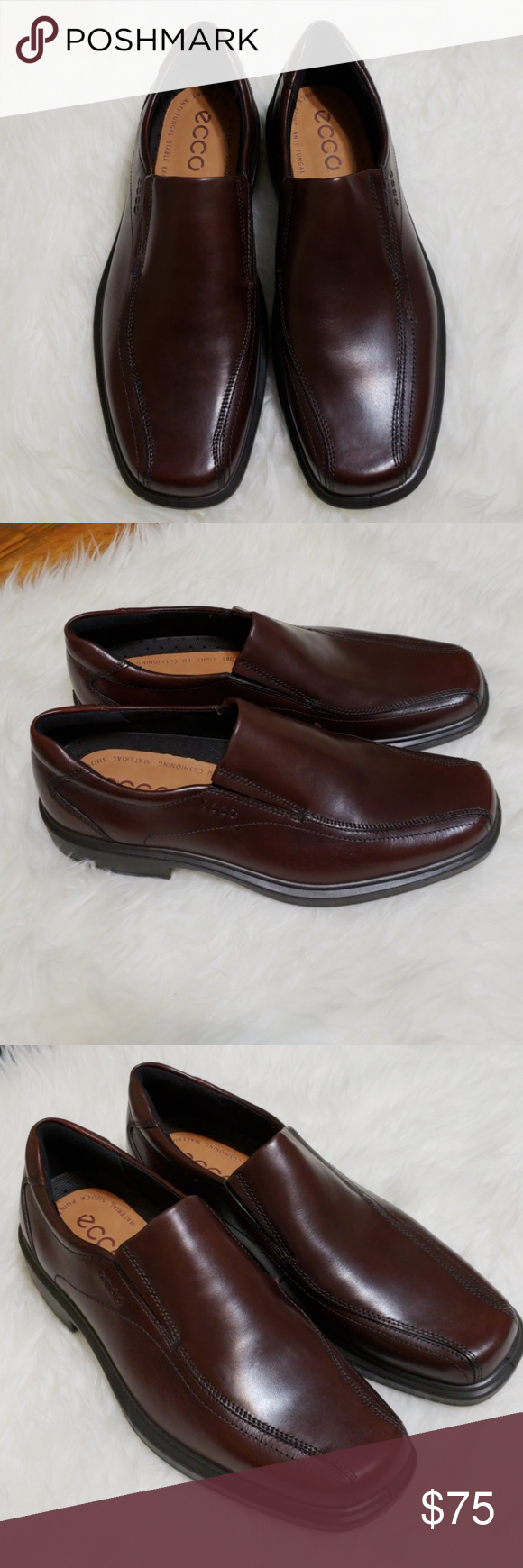 109b0766543 ECCO Men s Leather Shoes Slip On Rust